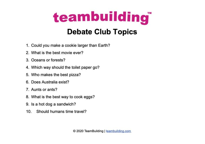 """List of trivial debate club topics for virtual team building. For example, """"oceans or forests?"""""""