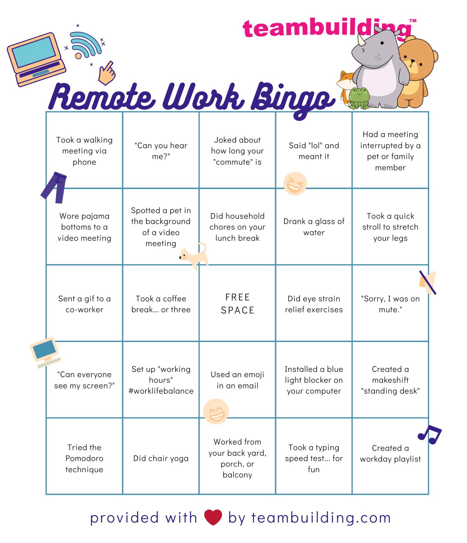 online team building bingo template