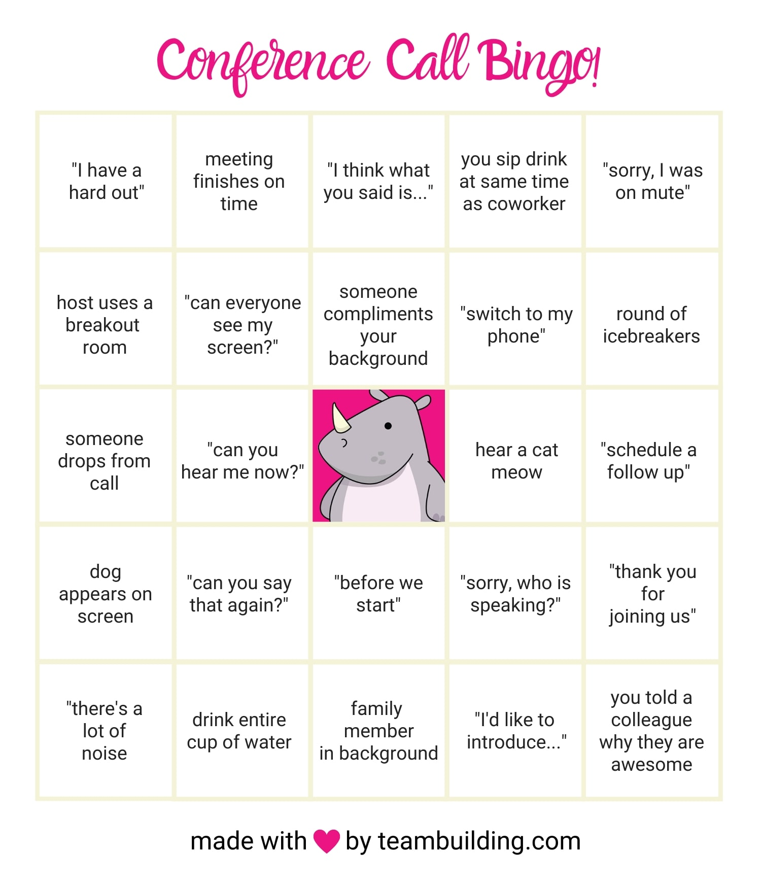 webex bingo game card