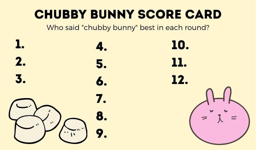 chubby bunny score card