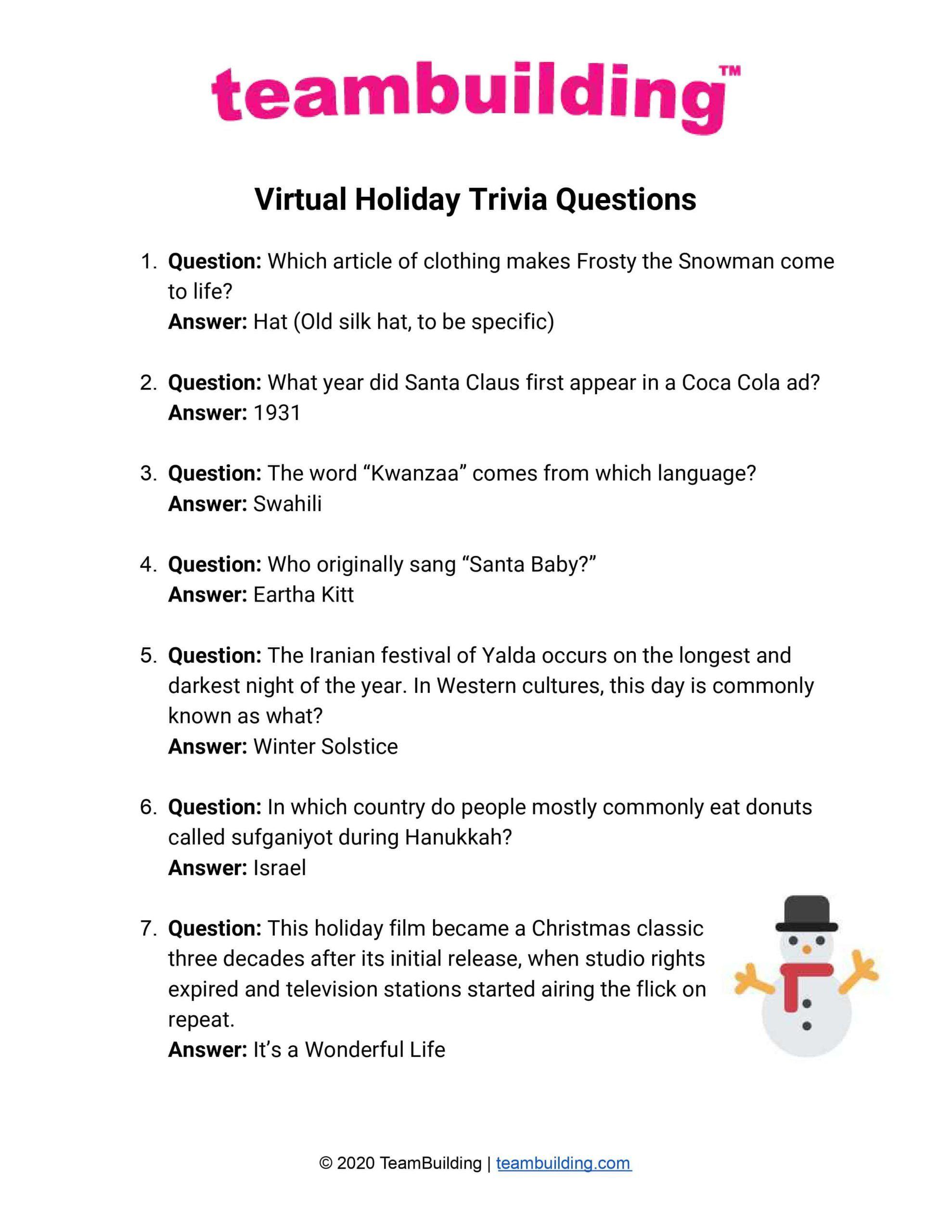 online holiday trivia list