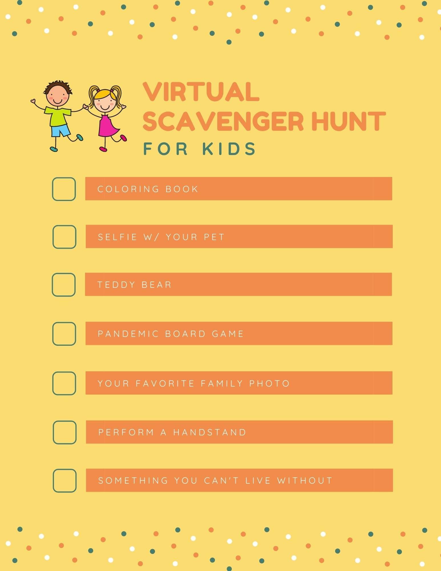 Virtual scavenger hunt for kids