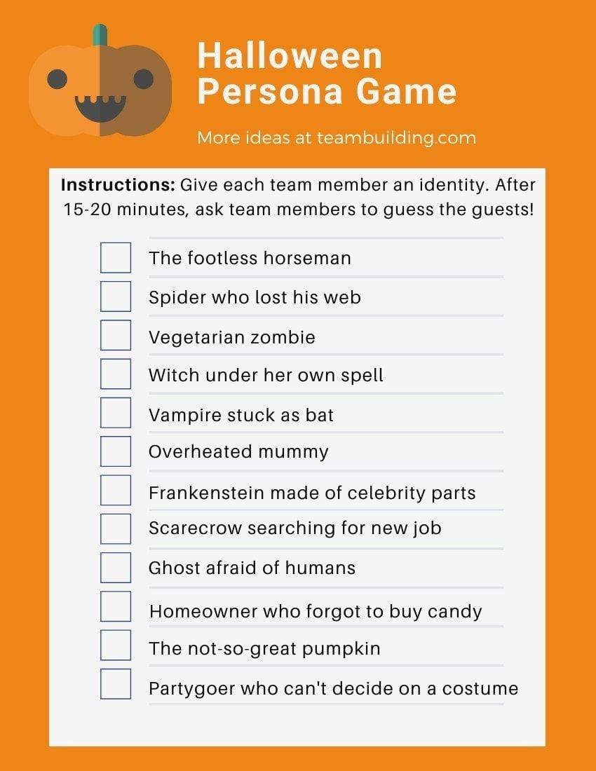 virtual Halloween persona game