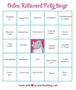 Virtual retirement party bingo