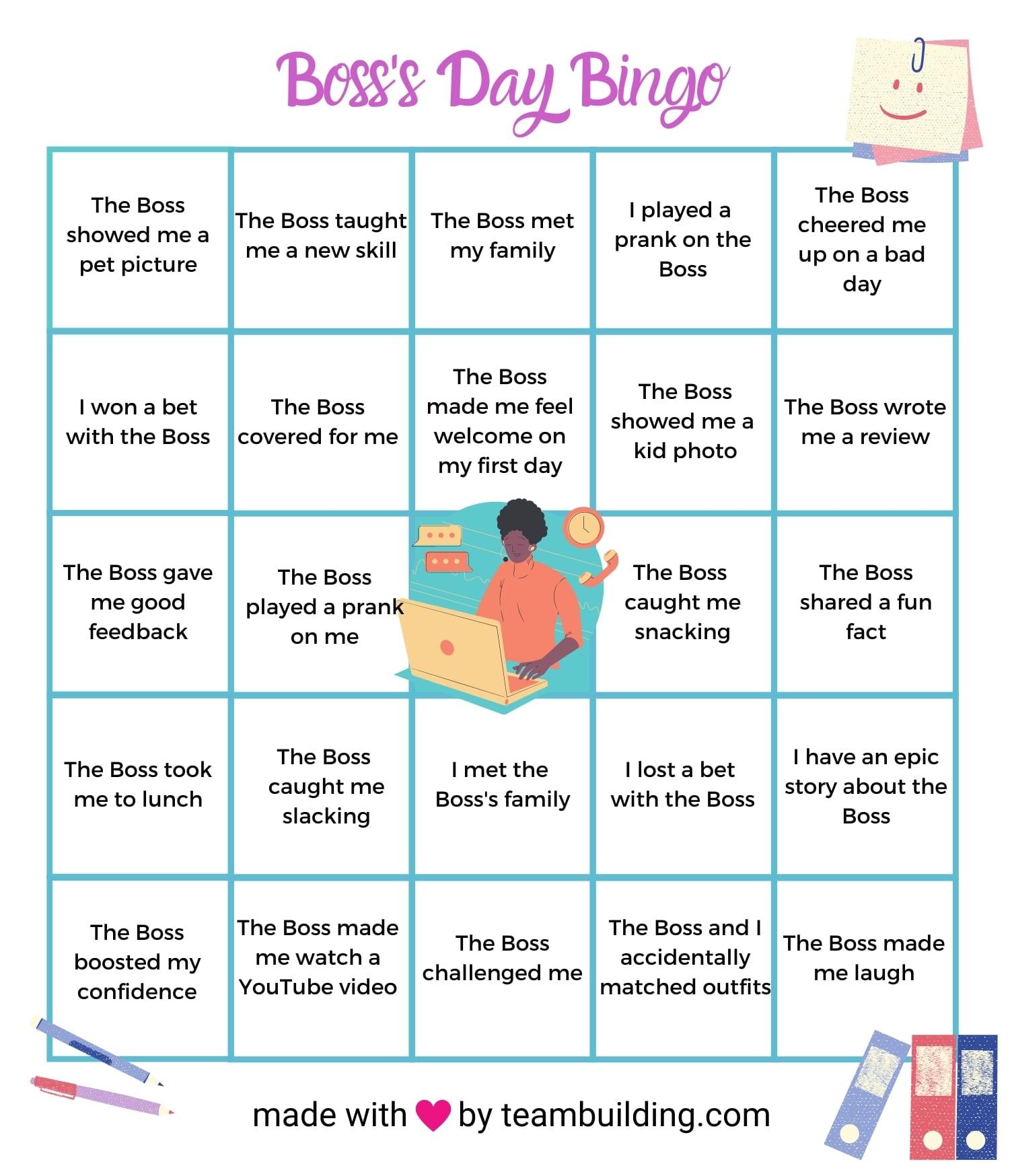 Boss Day Bingo game template