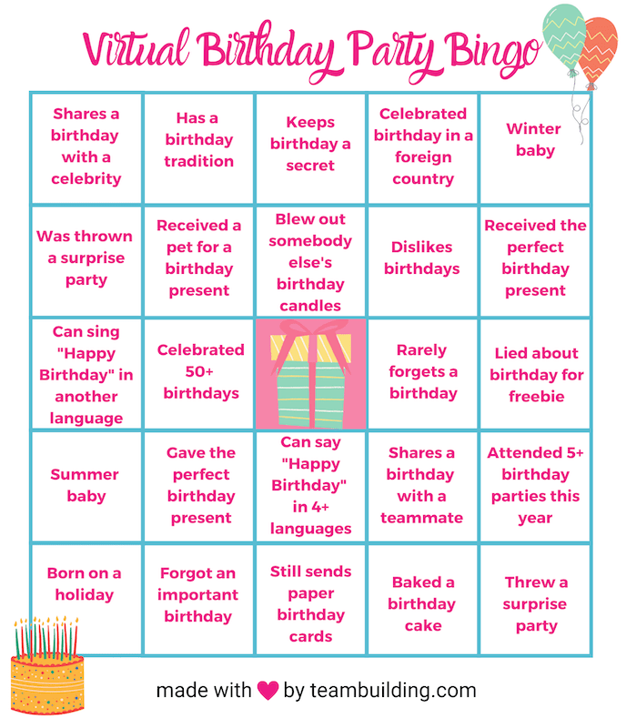 Virtual Birthday Party Bingo template