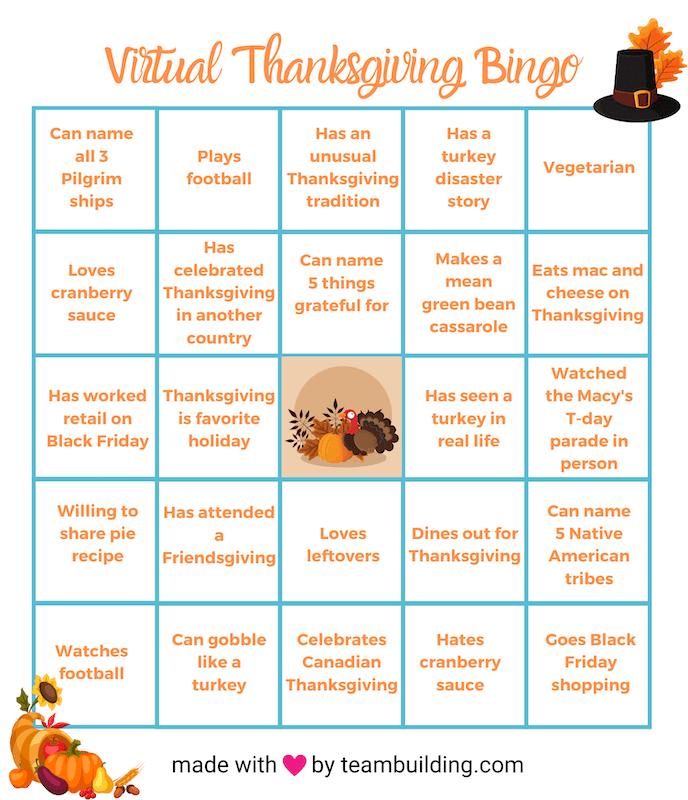 Virtual Thanksgiving Bingo template