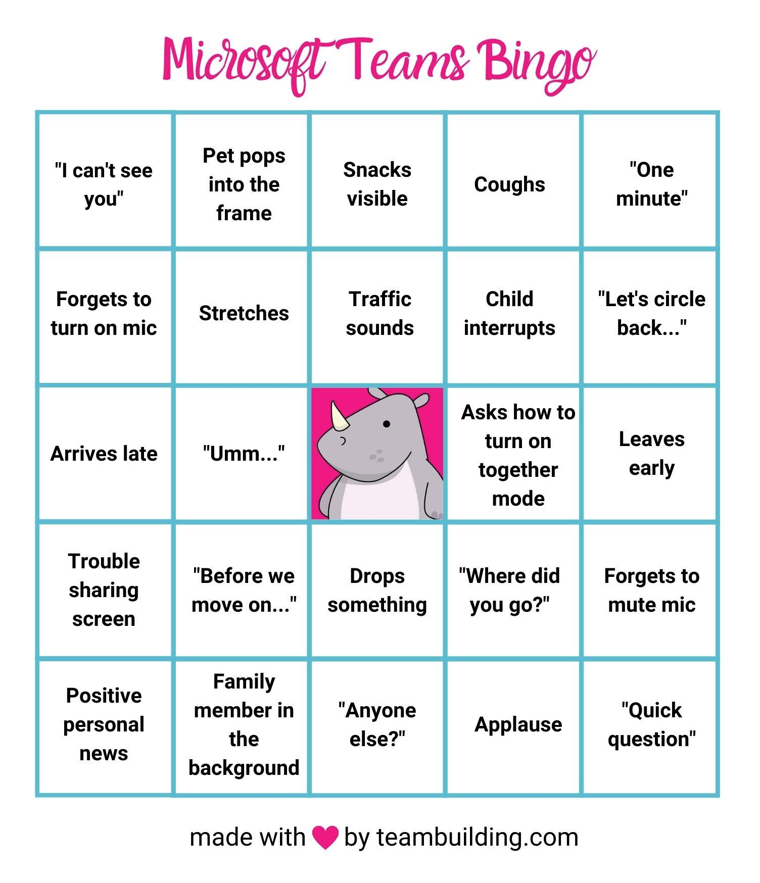 Microsoft Teams Bingo template