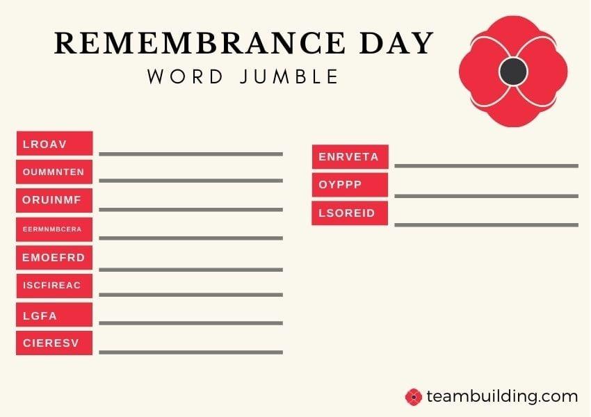 Rememberance Day word jumble
