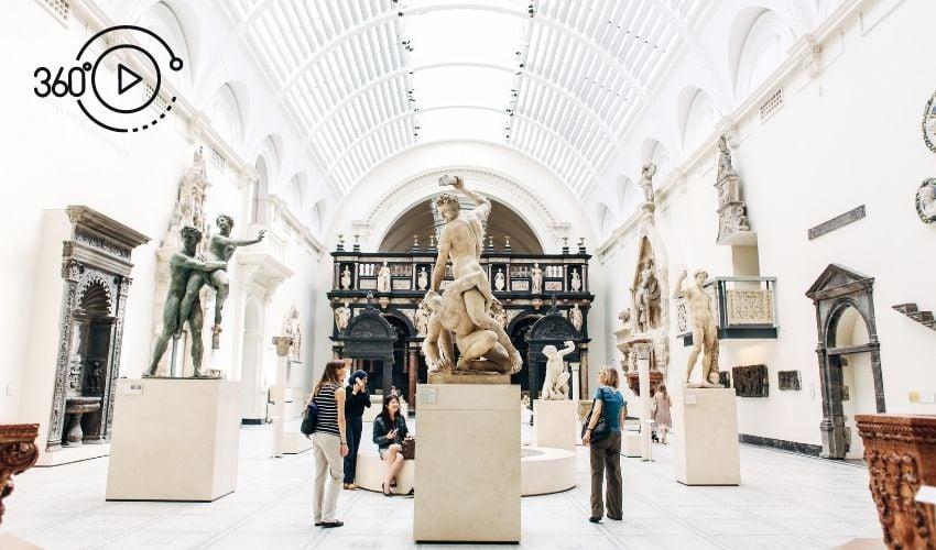 People in a virtual museum gallery
