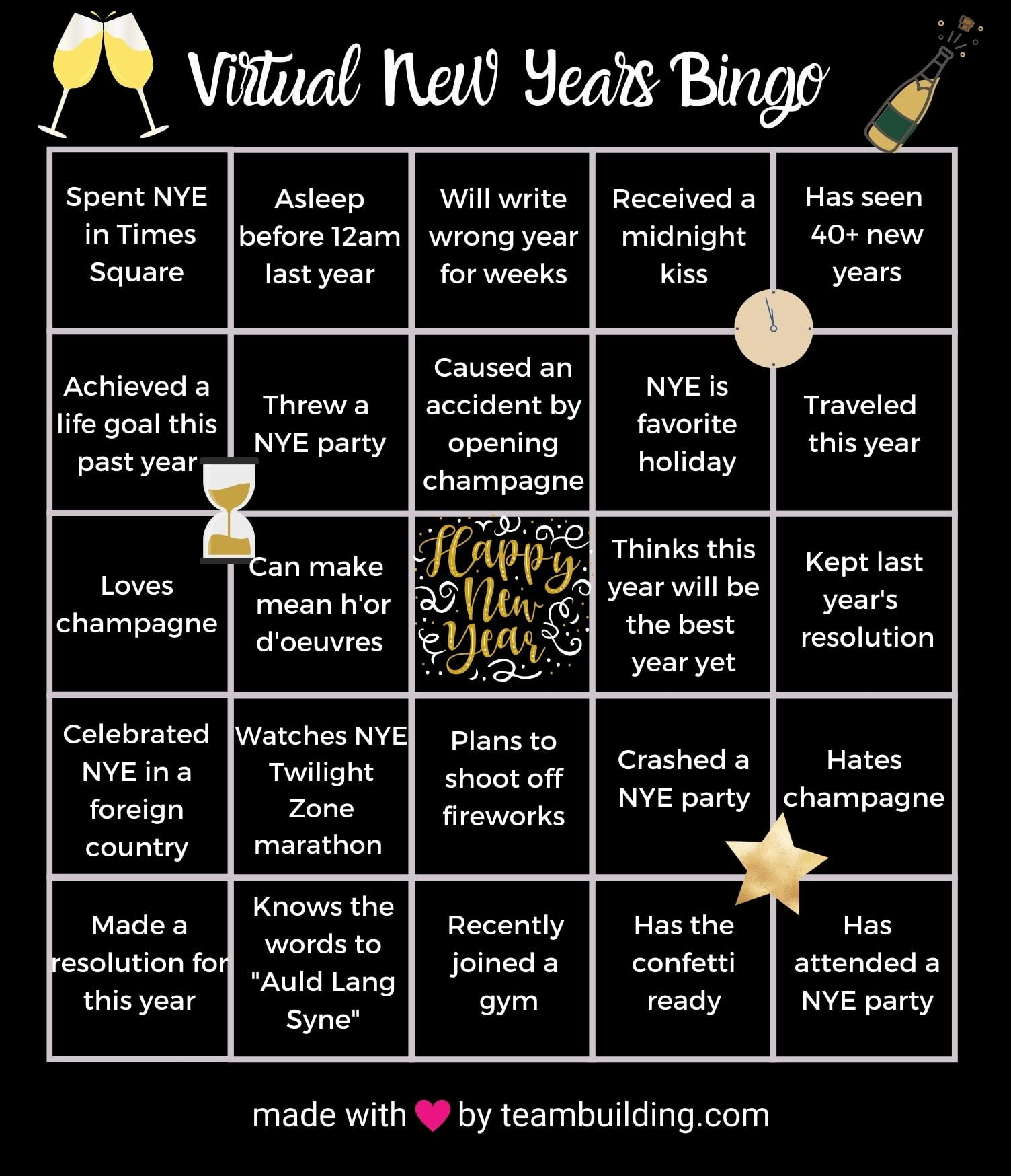 Virtual New Years Bingo template