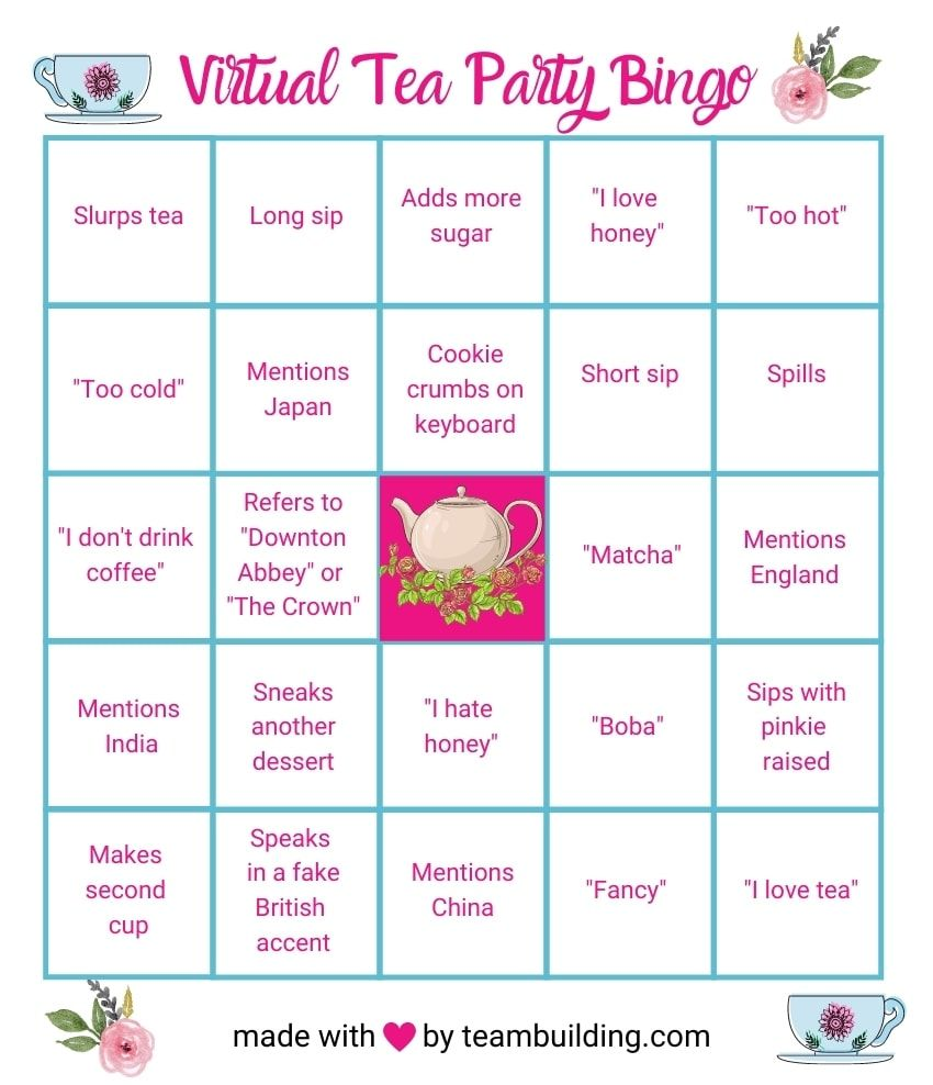 Virtual tea party Bingo template