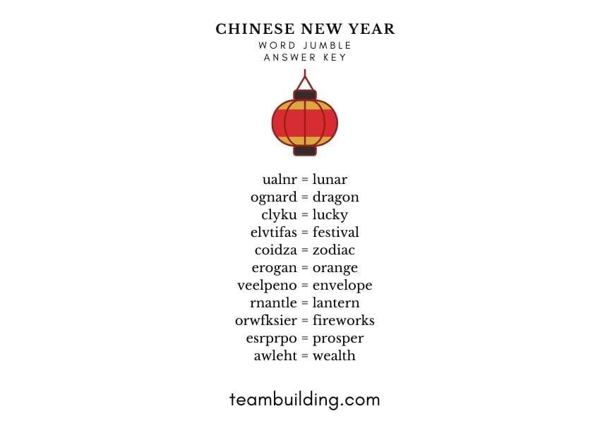 Chinese New Year word jumble answer key