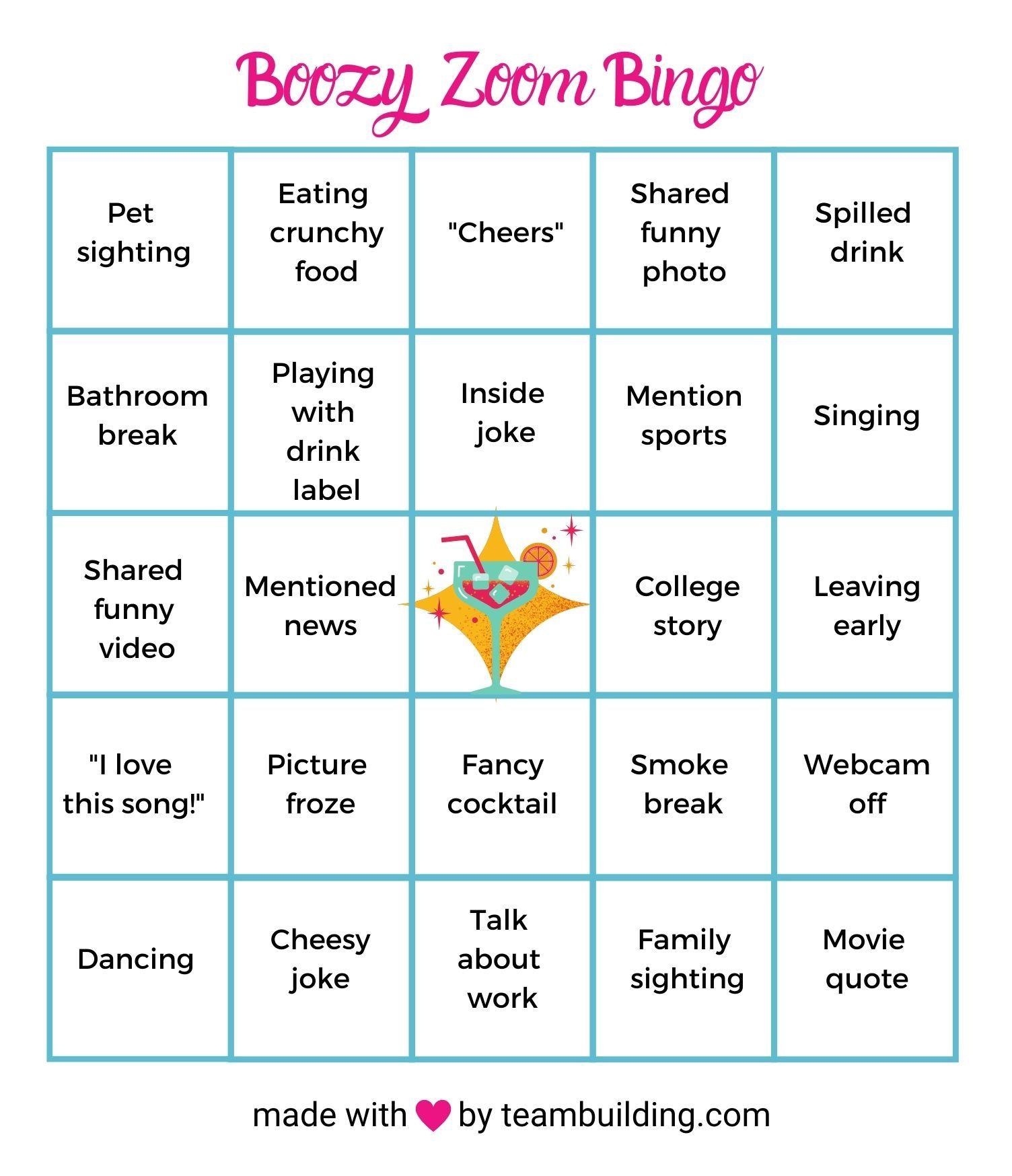 Zoom Happy Hour Bingo Template