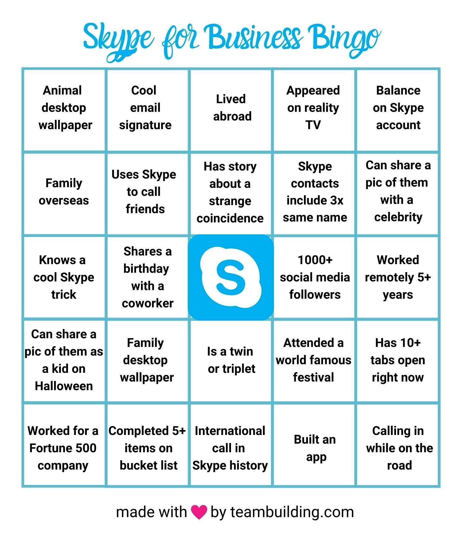 Skype for Business Bingo Card