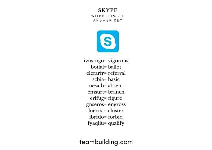 Skype at Work Word Jumble Answer Keys