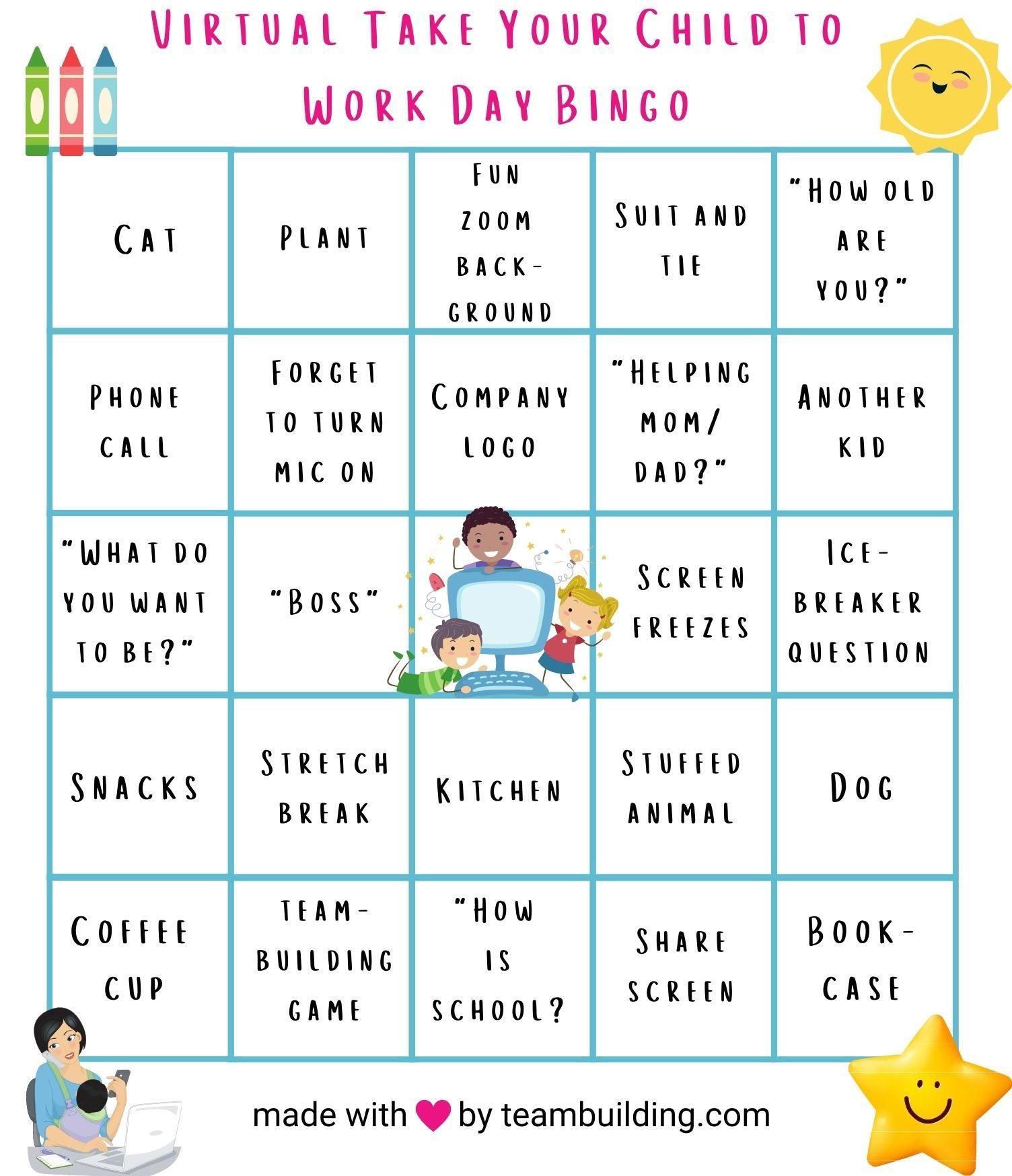 Virtual Take Your Kid to Work Bingo Card