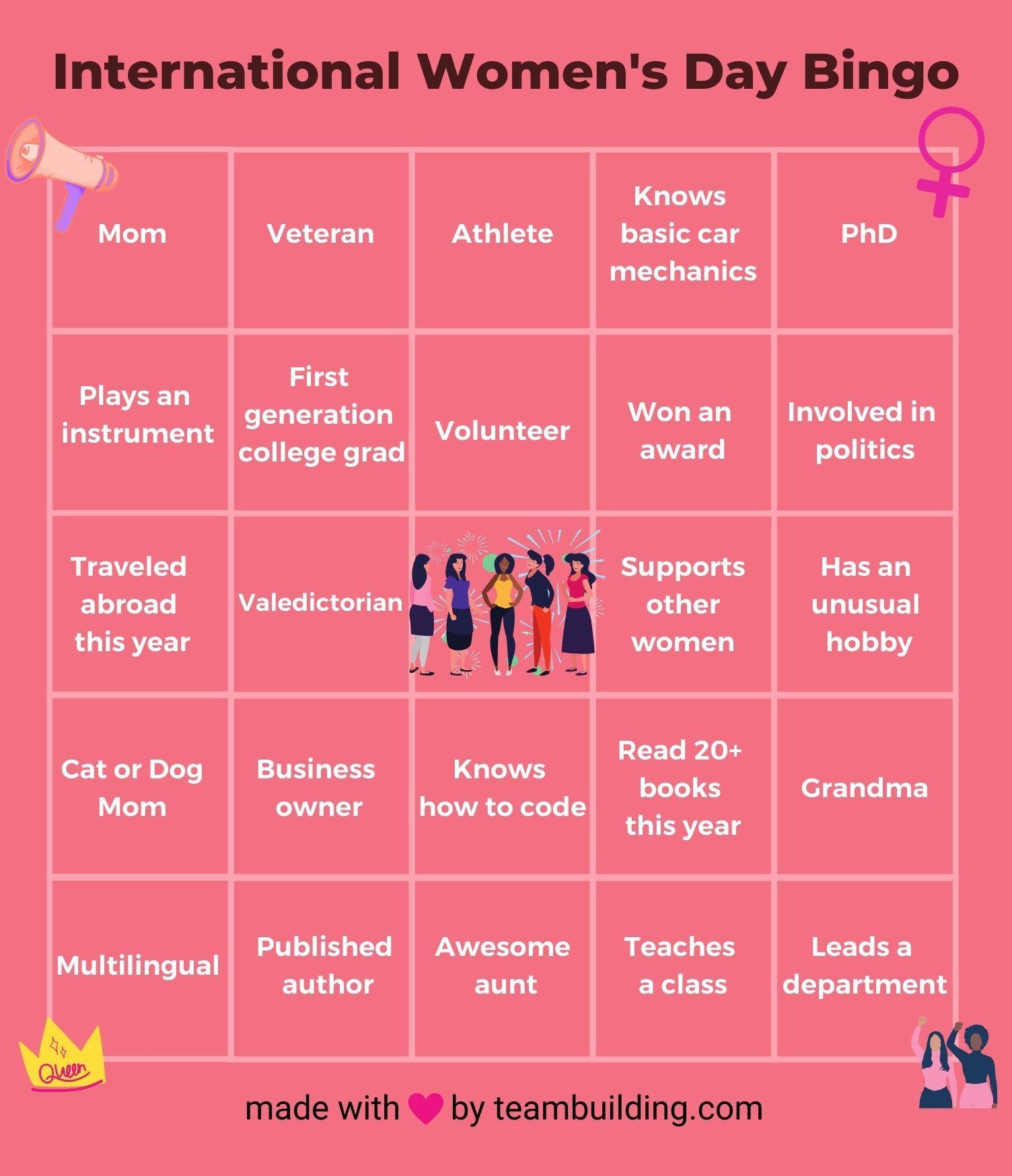Women's Day Bingo Card
