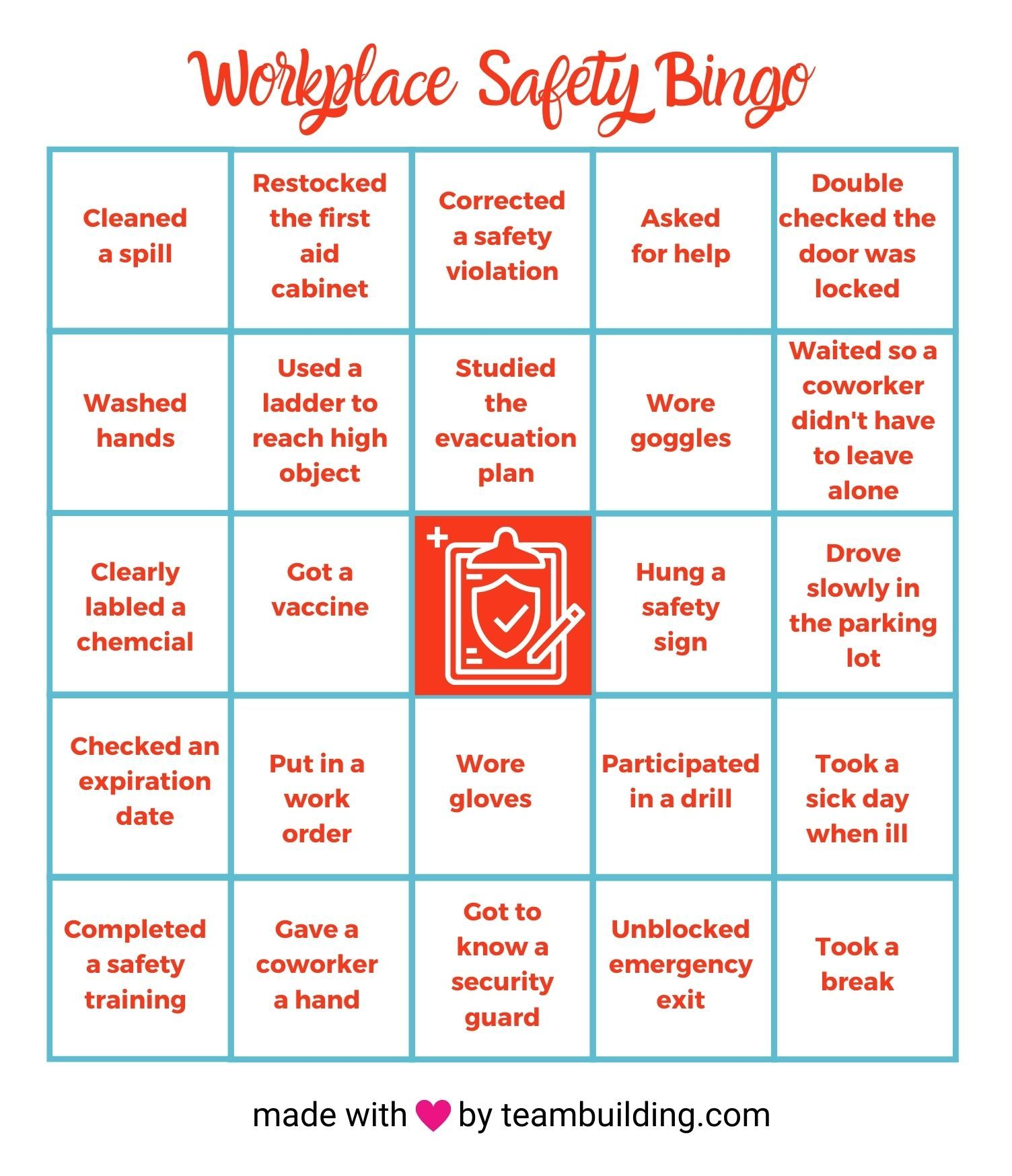workplace safety bingo card