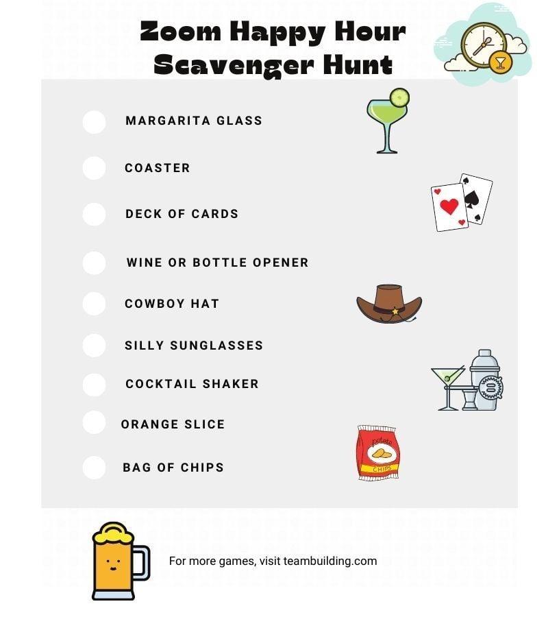 Zoom Happy Hour Scavenger Hunt Clues