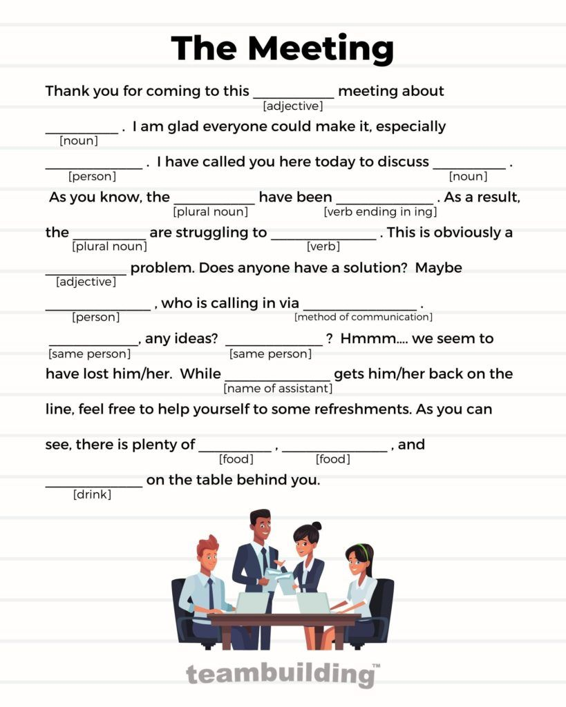 The Meeting Admin Day Mad Lib Game