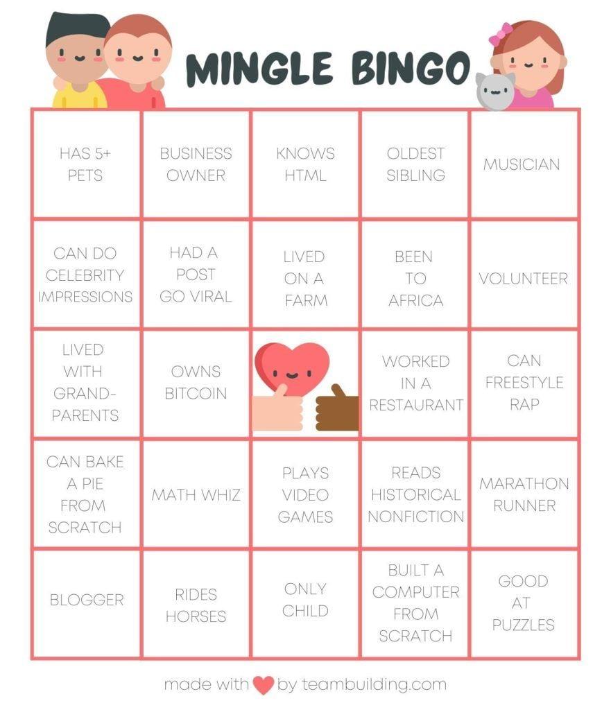 Virtual Mingle Bingo Gameboard