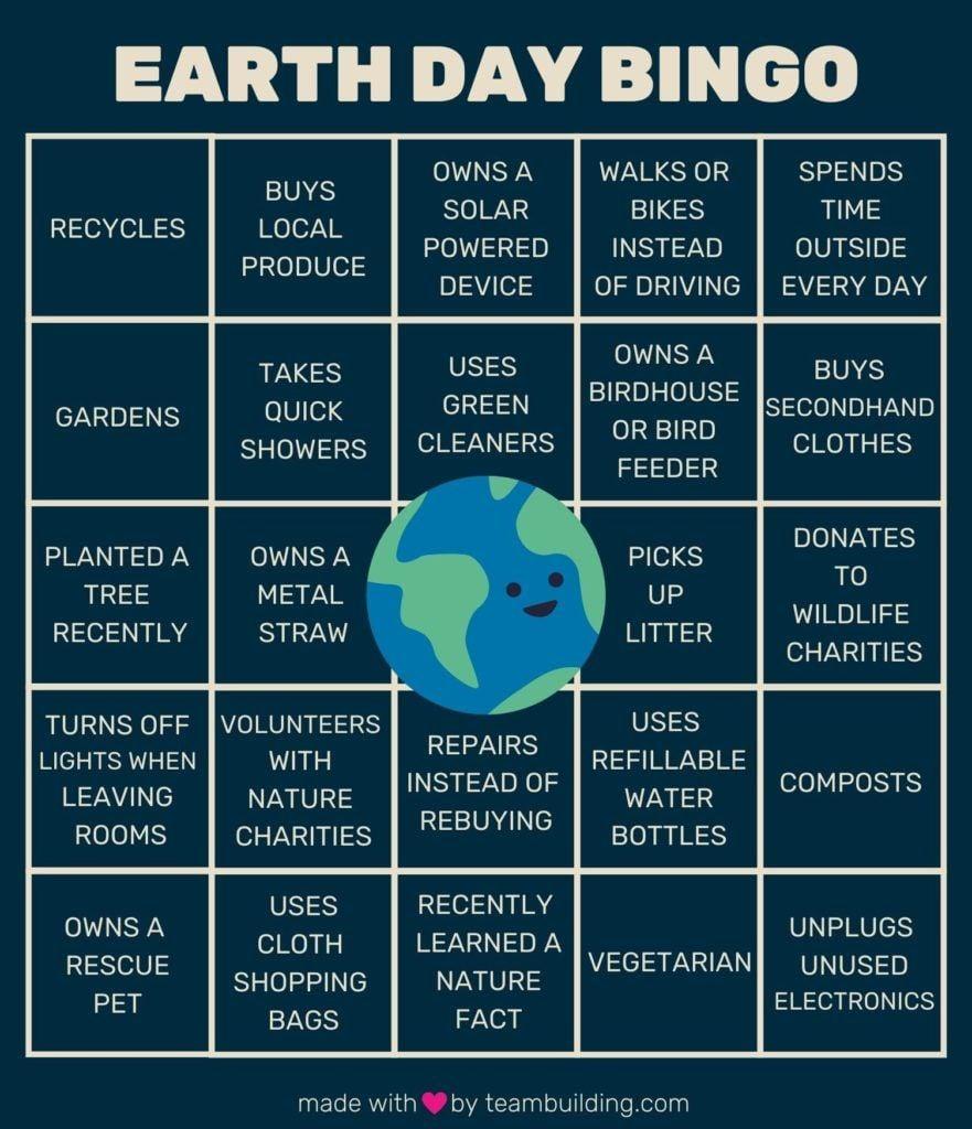 Earth Day Bingo Template