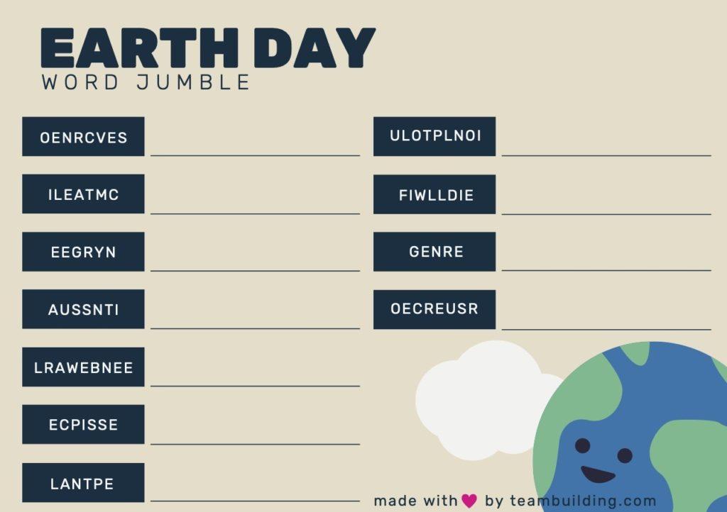 Virtual Earth Day Word Jumble