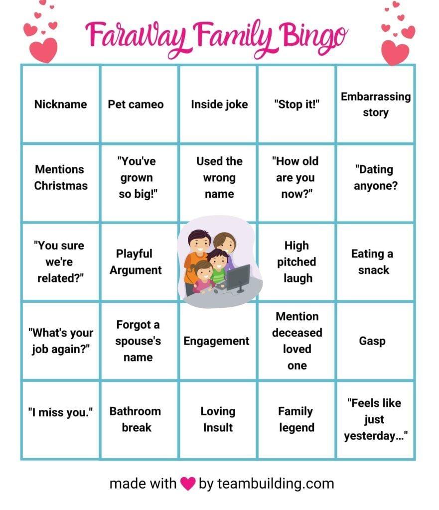 Zoom Family Bingo Board