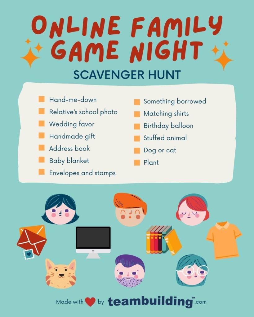 Online Family Game Night Scavenger Hunt board