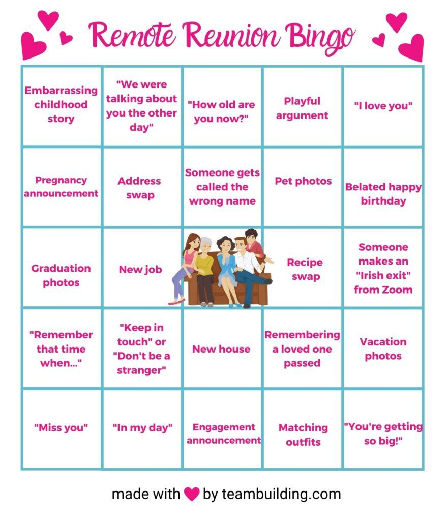 Remote Reunion Bingo Card
