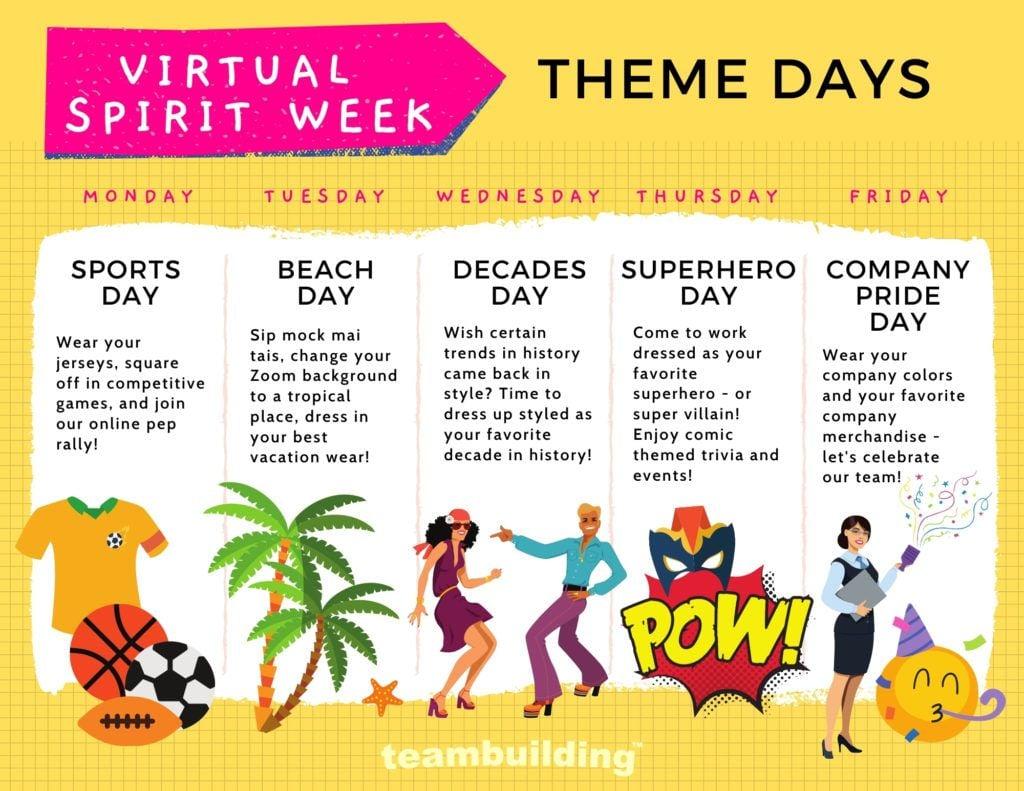 Virtual Spirit Week Theme Week Schedule