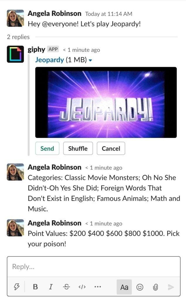 Jeopardy Slack