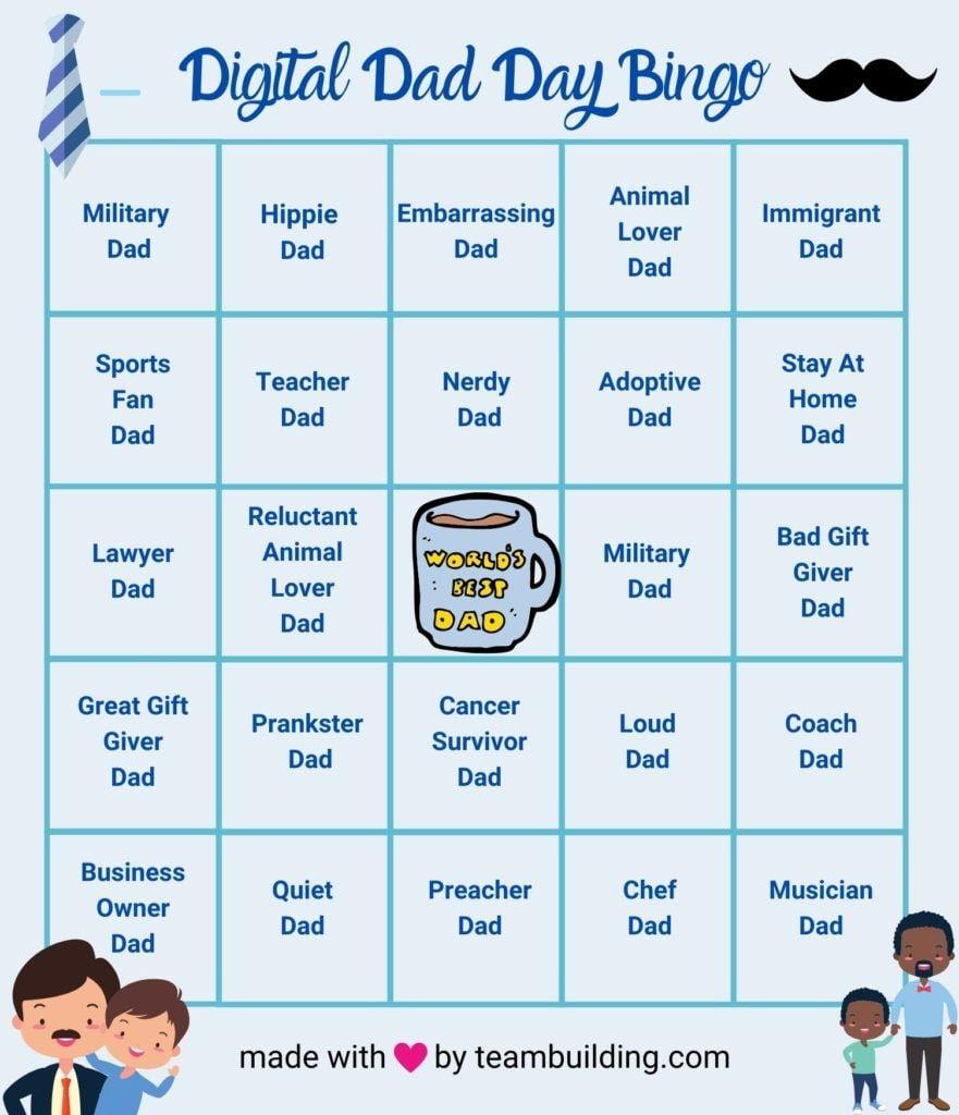 Digital Dad Day Bingo Card