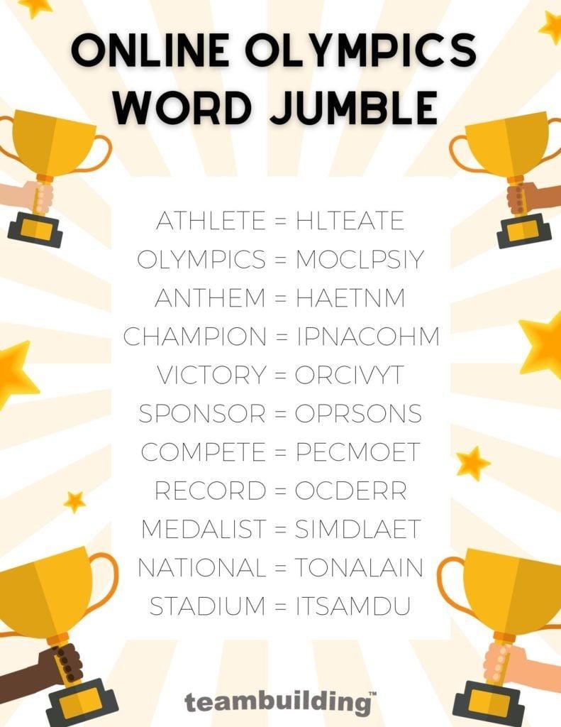 Online Olympics Word Jumble Answer Key