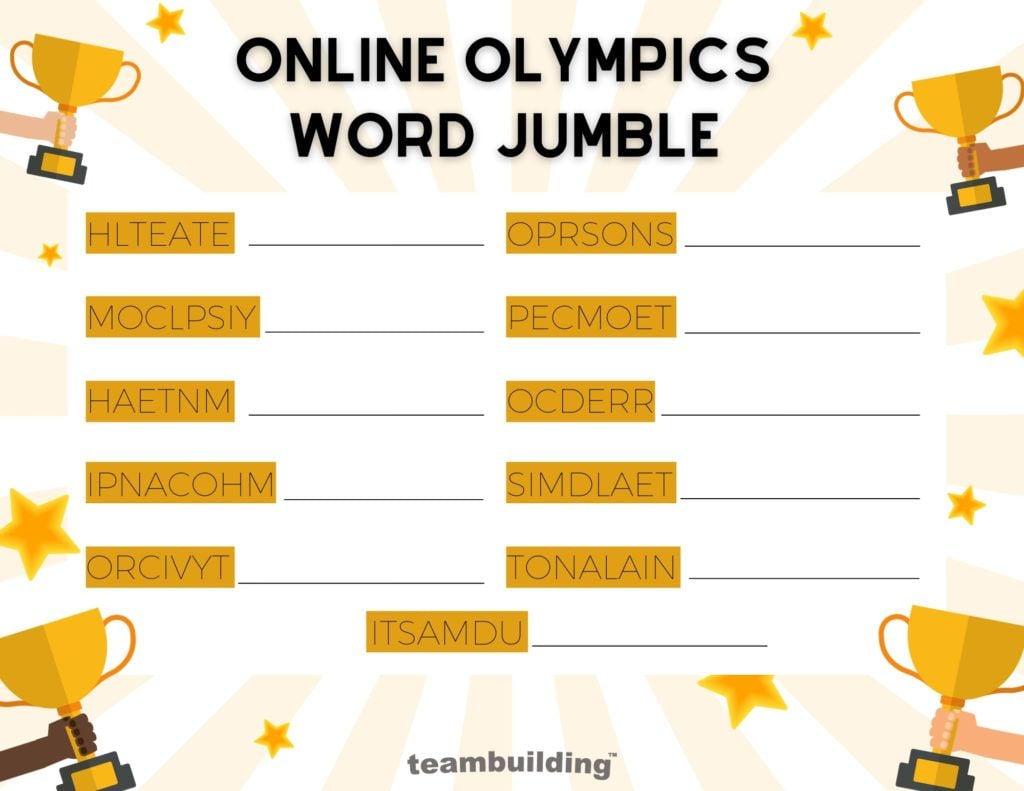 Online Olympics Word Jumble Board