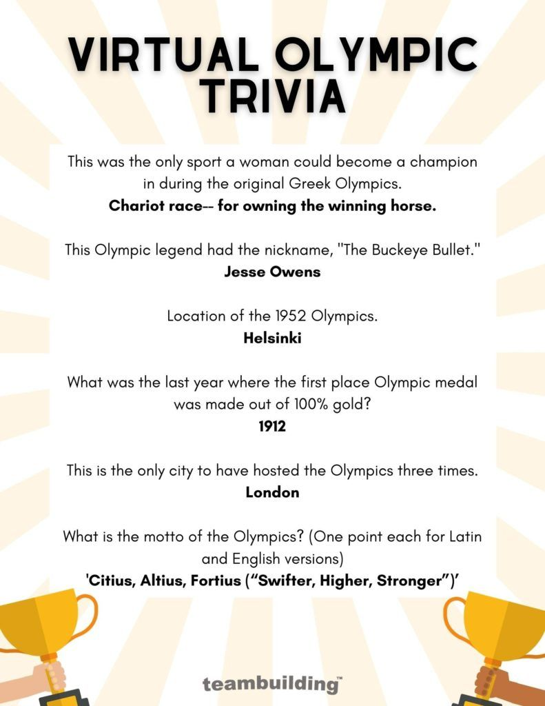 Virtual Olympic Trivia Questions and Answer