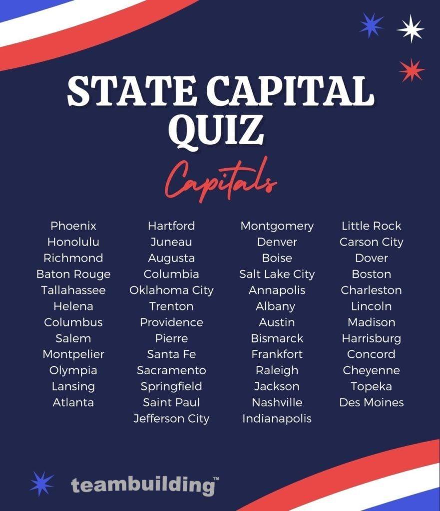 State capital quiz capitals