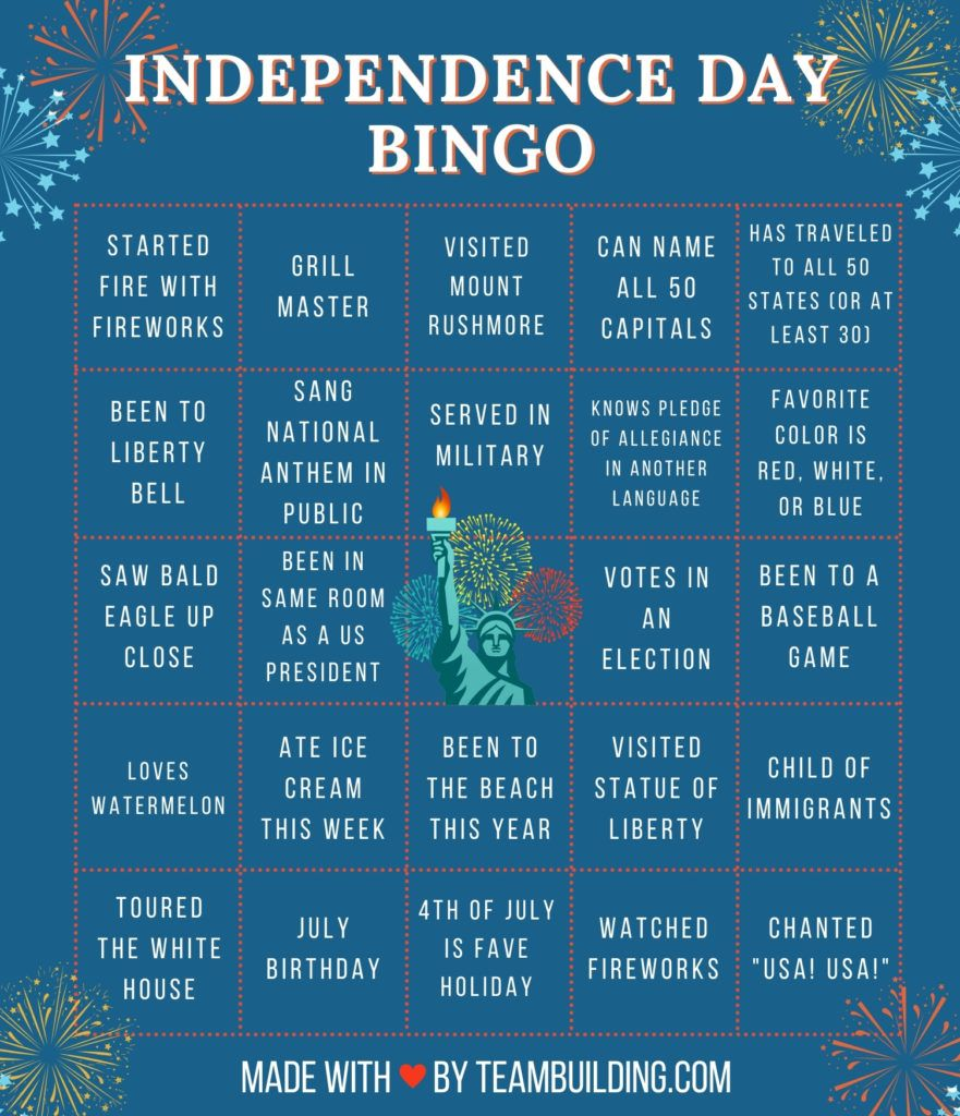 Virtual 4th of July Bingo
