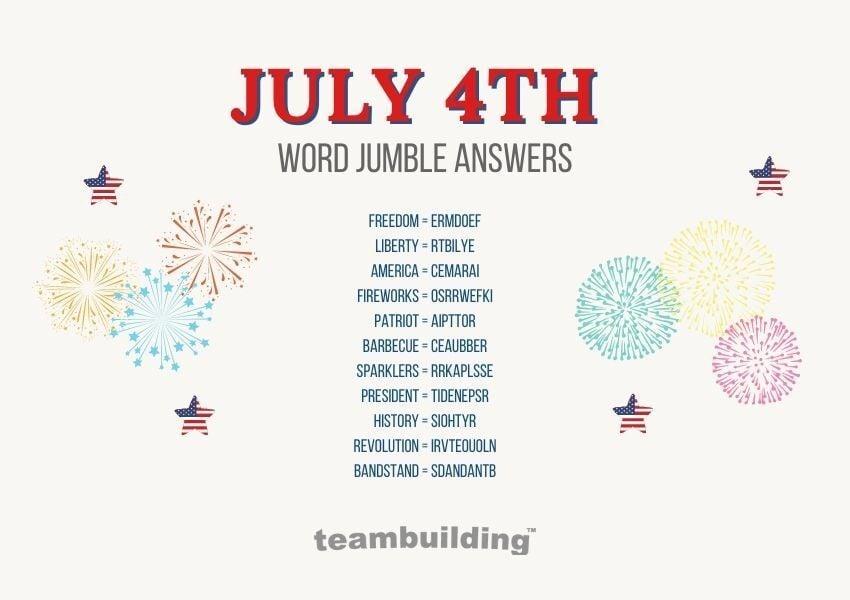 Virtual july 4th word jumble answers