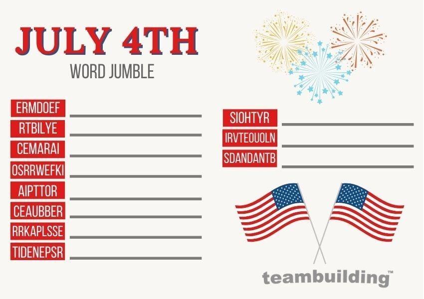 Virtual july 4th word jumble