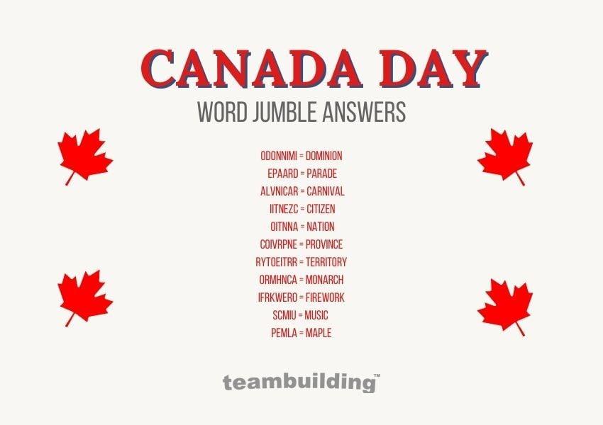 canada day word jumble answer key
