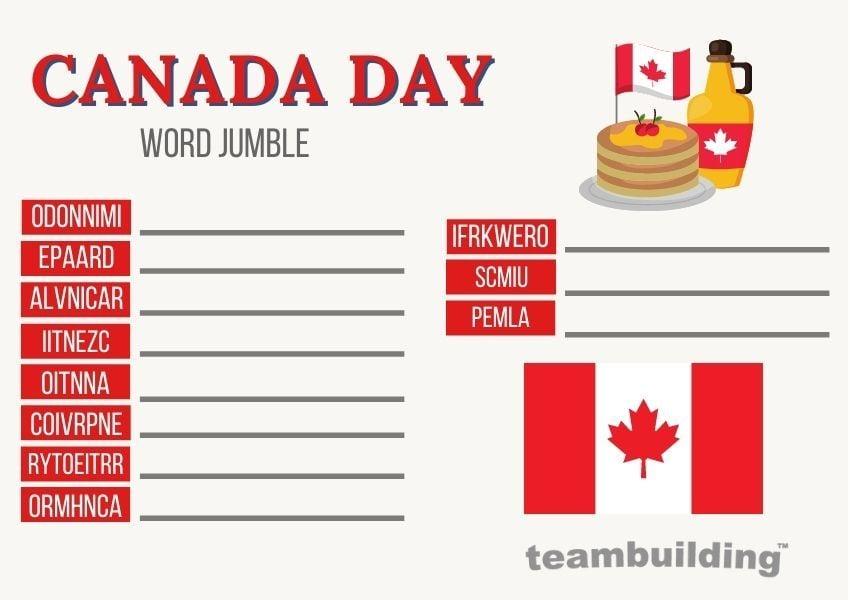 canada day word jumble