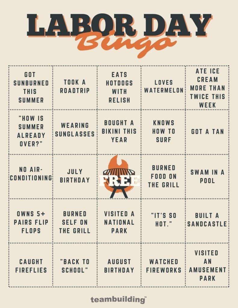 Virtual Labor Day Bingo