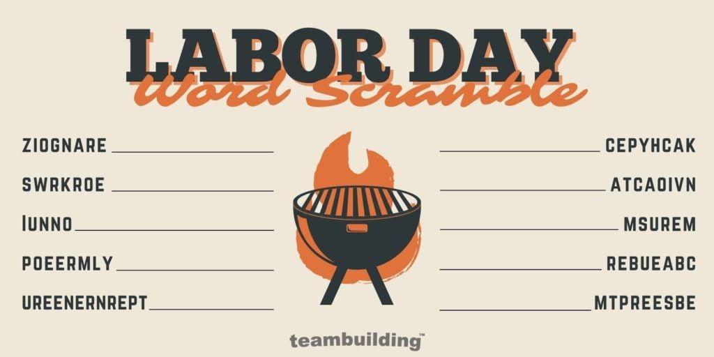 Virtual Labor Day Word Jumble