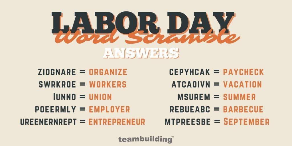 Virtual Labor Day Word Jumble Answers
