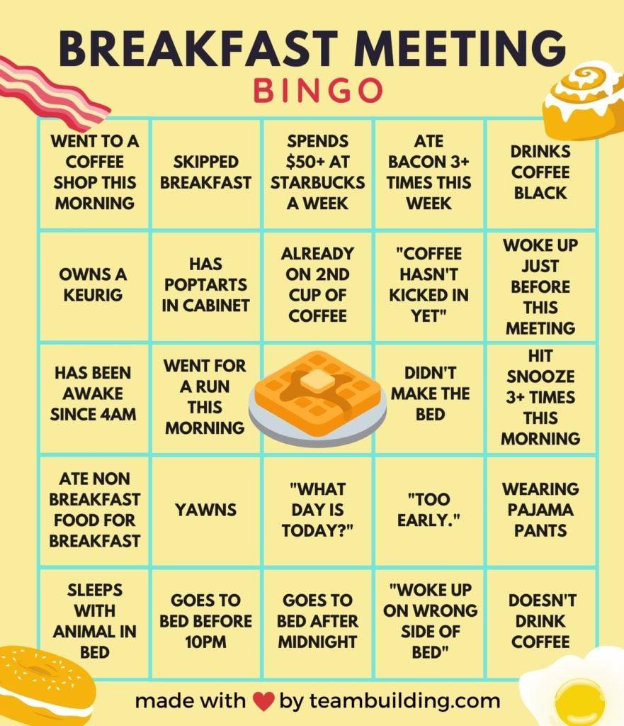 Virtual Morning Meetings Bingo