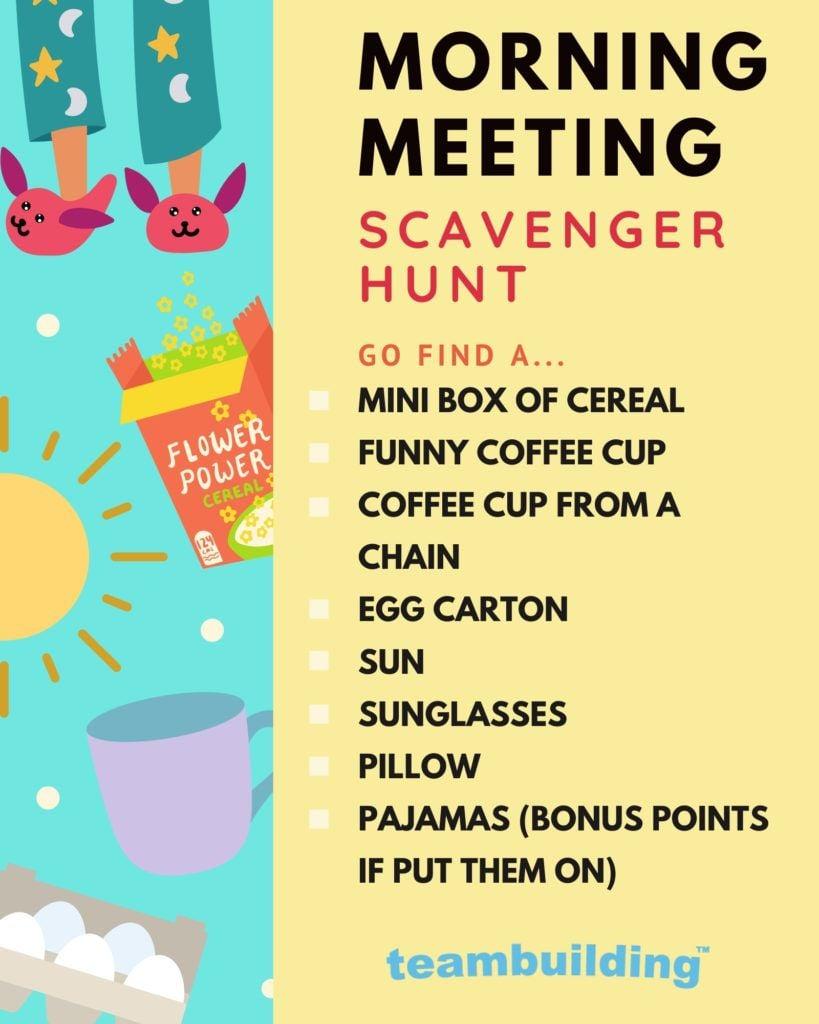 Virtual Morning Meetings Scavenger Hunt