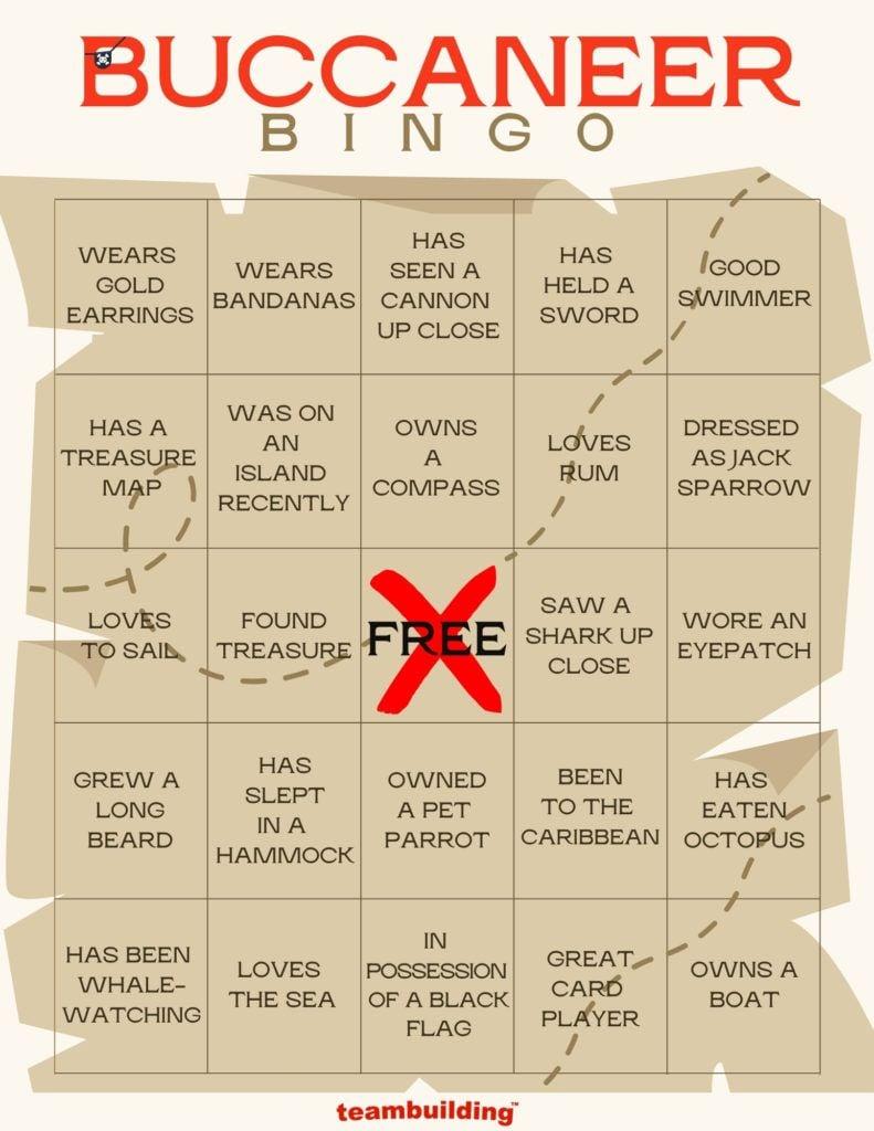 Buccaneer Bingo Card