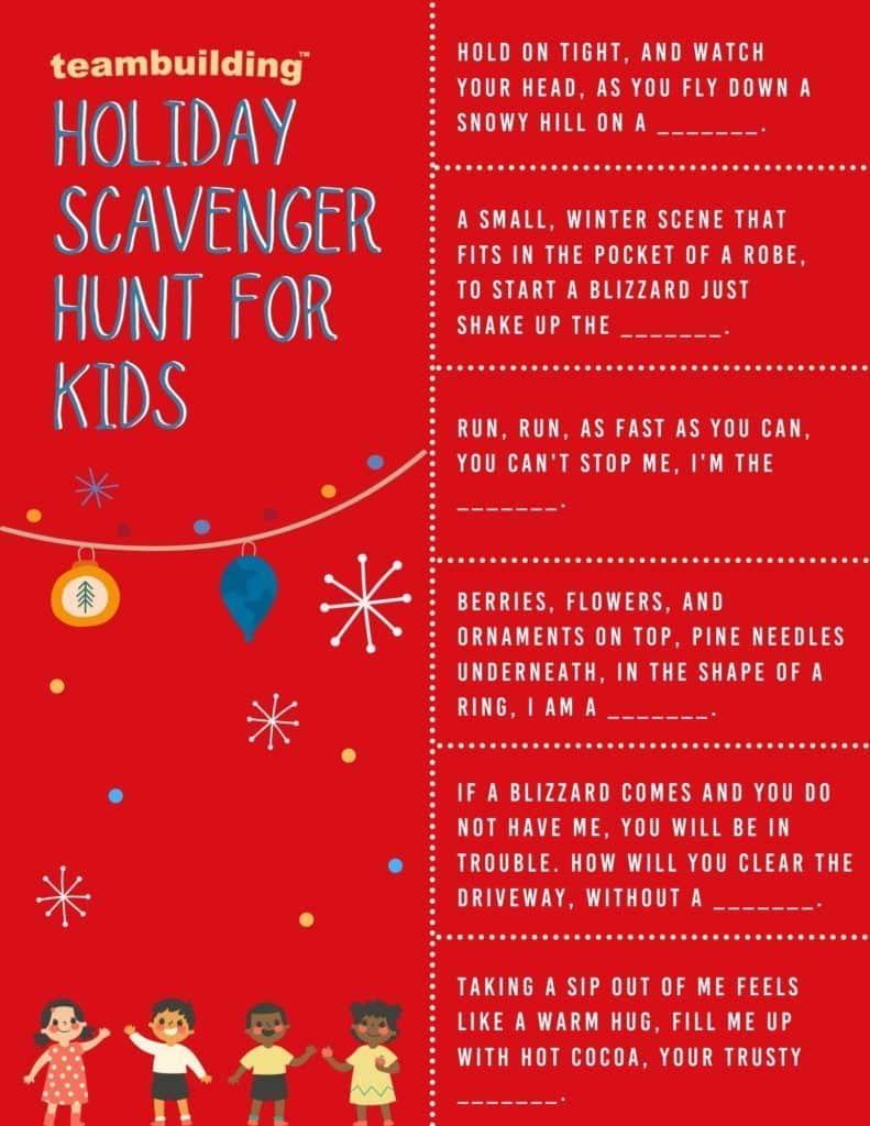 Holiday scavenger hunt for kids template